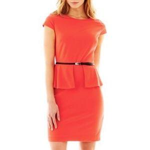 Worthington Split Peplum Dress Coral Pink